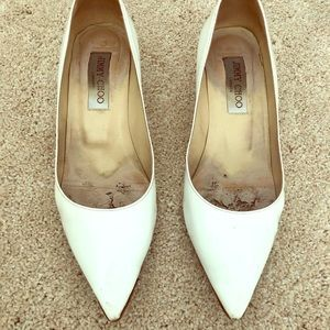 White patent Jimmy Choo kitten heel pumps sz 37.5